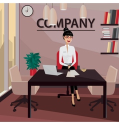 Business woman sitting in her private office vector