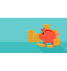 Blue background of piggy bank and golden coins vector