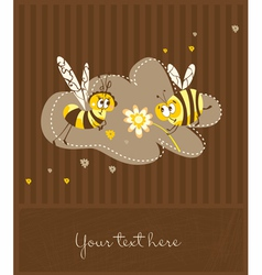 Vintage card with bees vector