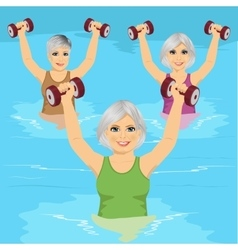 Senior women making aqua gym exercises vector