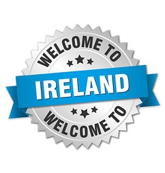 Ireland 3d silver badge with blue ribbon vector