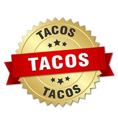 Tacos 3d gold badge with red ribbon vector