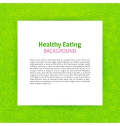Paper template over healthy eating line art vector