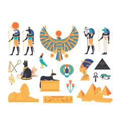 ancient egypt collection - gods deities and vector image