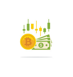 bitcoin and banknotes of dollars in flat style vector image vector image