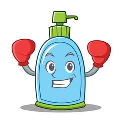 Boxing liquid soap character cartoon vector