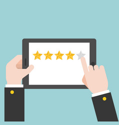 business hand rating stars on tablet vector image