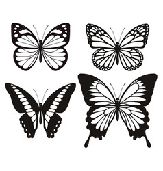 butterfly silhouette icons set vector image vector image