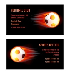 Card Football Ball with fire vector image