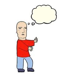 Cartoon tough man with thought bubble vector