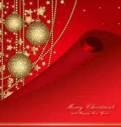 christmas postcard with balls vector image vector image