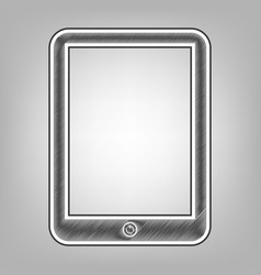 Computer tablet sign pencil sketch vector