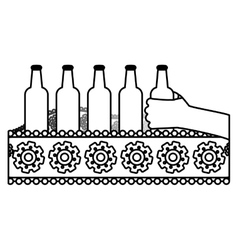 Contour bottles of beers in the factory icon image vector