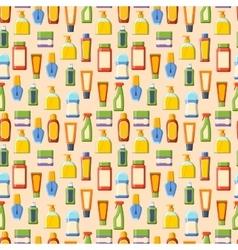 Cosmetics bottles seamless pattern vector image