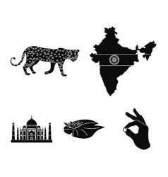 Country india black icons in set collection for vector