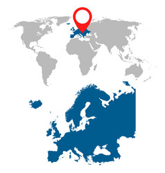 Detailed map of europe and world map navigation vector