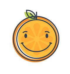 Emoji - orange with happy smile isolated vector