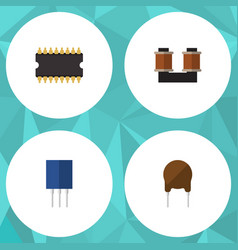 Flat icon device set of coil copper vector