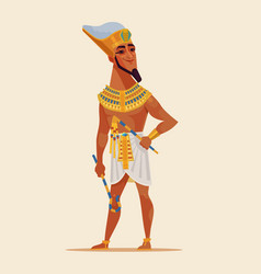 happy smiling young egyptian pharaoh vector image