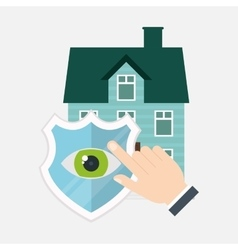 Home security shield protection house vector