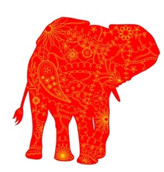 Indian elephant silhouette vector