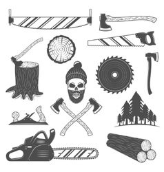 Lumberjack Monochrome Elements Set vector image vector image