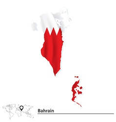 Map of Bahrain with flag vector image