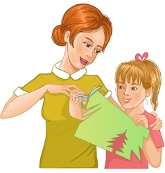 Mother helps daughter to cut color paper and make vector image