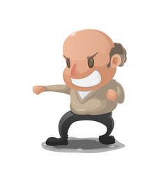 Old man anger fight pose vector