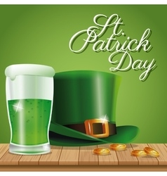 Poster st patrick day hat and glass beer on wooden vector