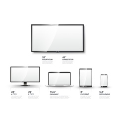 Realistic tv screen lcd monitor laptop tablet vector