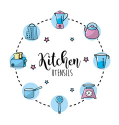 Set kitchen utensils and traditional object vector