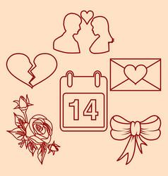 Set valentines day design line elements vector
