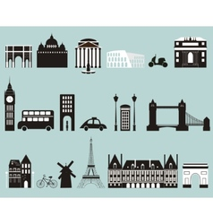 Silhouettes of famous cities vector image vector image