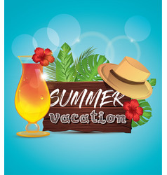 summer vacation poster with palm leaves tropical vector image vector image