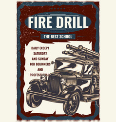 the vintage fire truck vector image vector image