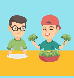 two caucasian boys eating broccoli vector image