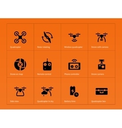 Wireless quadcopter and drone icons on orange vector