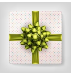 Yellow bow gift box top view EPS 10 vector image