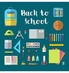 Back to school flat design modern icon set vector image