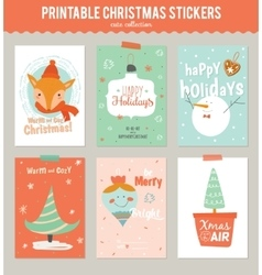 Collection of 6 christmas gift tags and cards vector