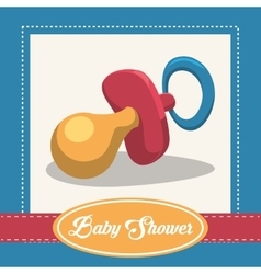 Baby pacifier invitation card design vector
