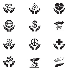 Hand charity icons set vector