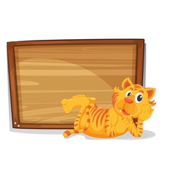 A tiger beside an empty wooden signage vector