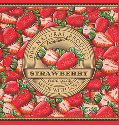 Vintage strawberry label on seamless pattern vector