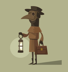 Plague doctor character mascot crow mask vector