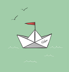 Origami paper ship hope on sea waves vector