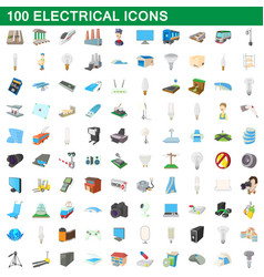 100 electrical icons set cartoon style vector