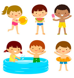 Kids at the beach or the pool vector