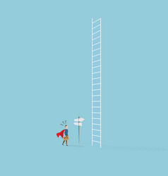 Businessman confused in front of white ladder vector